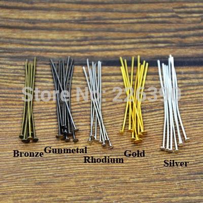 200pc/lot 20 30 40 45 50mm Metal Flat Head Pins Needles Bronze Rhodium Gold Silver DIY Jew