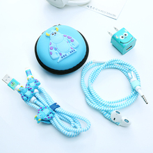 Cartoon USB Cable Earphone Protector Set With Cases Winder Stickers Spiral Cord For iphone5 6 7