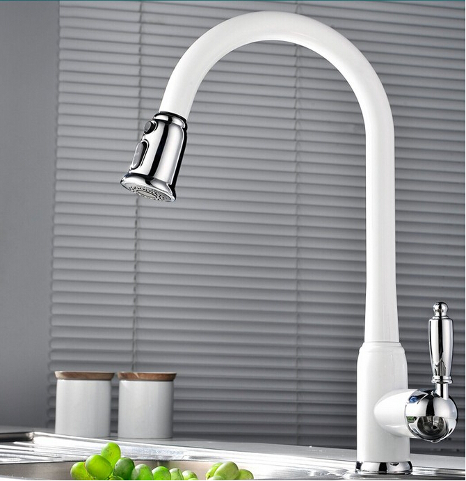 Luxury White Pull Down Kitchen Faucet Wholesale New Arrival Solid