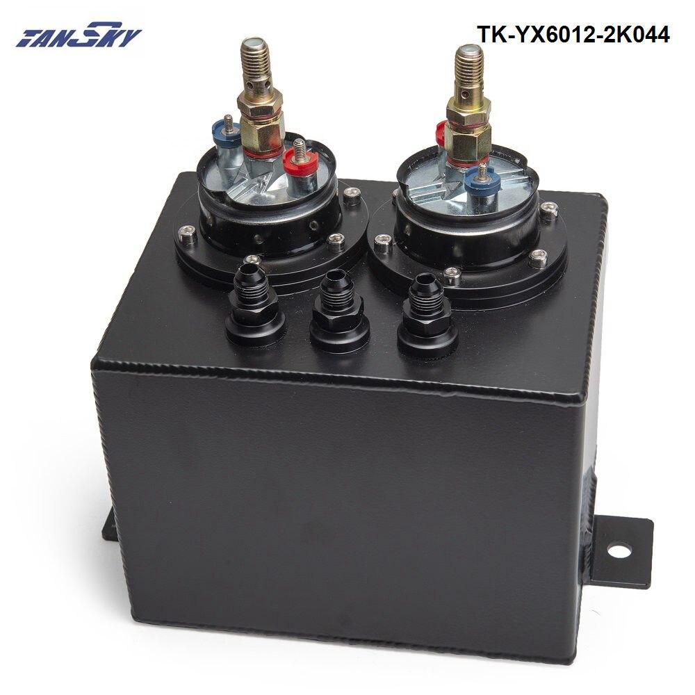 Haute Q externe 044 double pompe à carburant anodisé billette en aluminium TK-YX6012-2K044 de réservoir de surtension de carburant