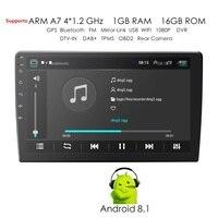 Universal 2 din Android 8.1 Quad Core Car Multimedia player GPS Wifi BT Radio 1GB RAM 16GB ROM 4G SIM Network Steering wheel RDS