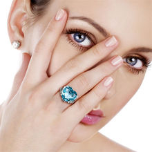 New Sale Female Wedding Rings Jewelry Cubic Zirconia Crystal Blue Heart for Women Silver Accessories Gifts