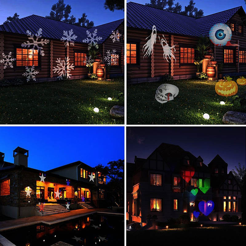 12 Pattern Christmas Halloween Projection LED Landscape Projection Spotlight Outdoor And Indoor Holiday Decor Lamp LB88