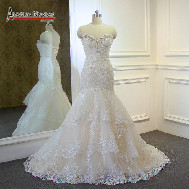高品質新しいファッションレースマーメイドシャンパンとアイボリーウェディングドレスオフショルダー花嫁衣装カスタムサイズ