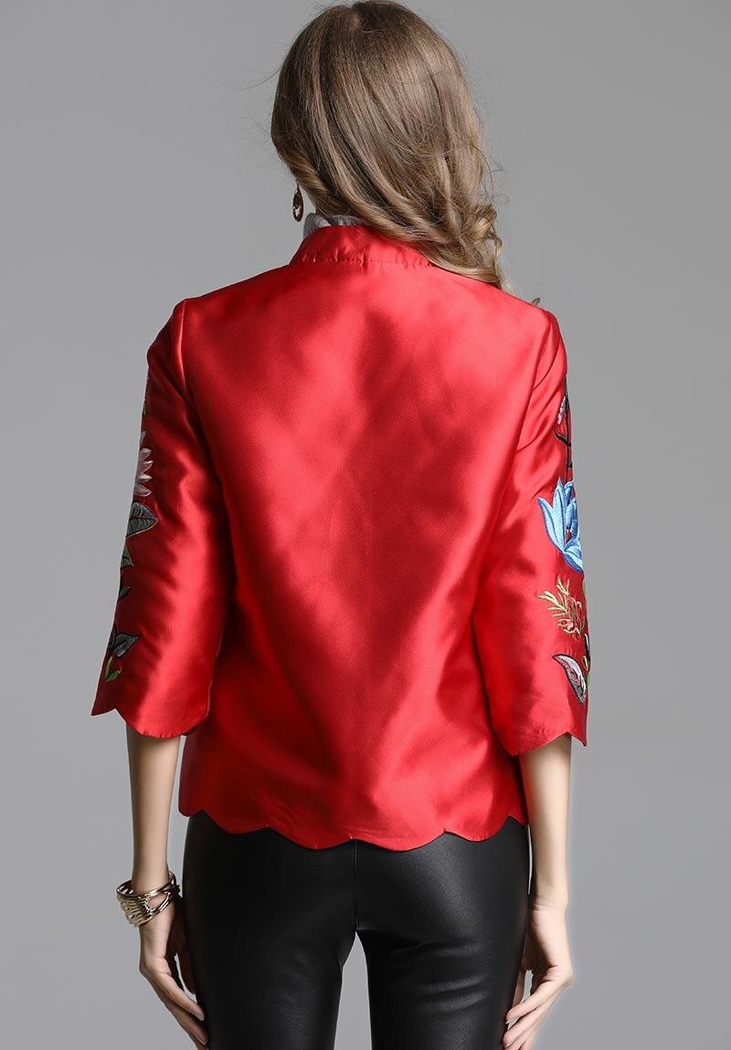 Haute Vintage Brodé Royal Automne Veste Manches Casual 3 Femmes Floral Femme fin rouge Tops xxl Baseball Lady 4 Vert S Manteau Court nBxItq8w5