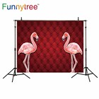 Funnytree background for photo studio Flamingos red tufted vintage soft photography backdrop photobooth photocall printed