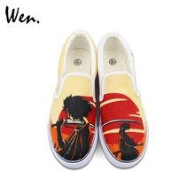 Wen Unisex Hand Painted Shoes Custom Design Anime Samurai Shamploo Slip Ons Outdoor Walking Skateboarding Sneakers