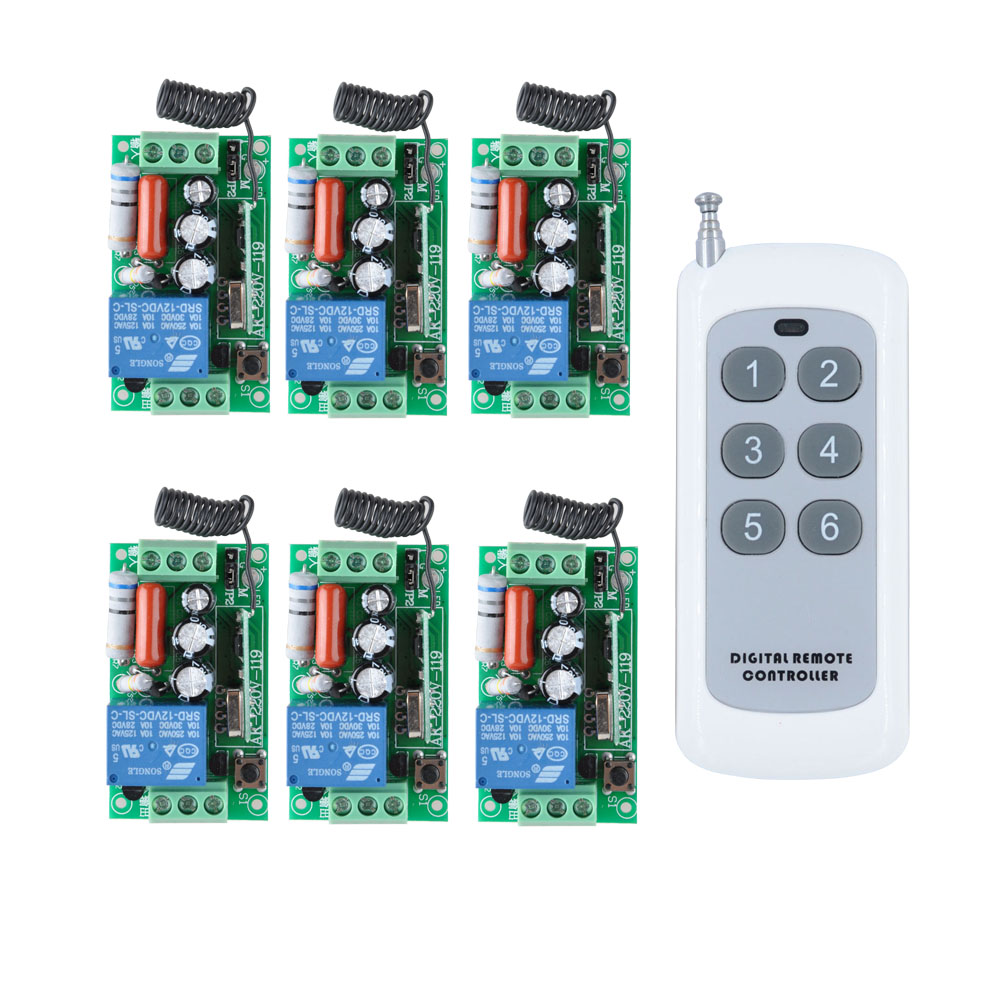 Rf Ac 220v 110v One Button Transmitter 1 Channel Relays Smart On Off Relay 1000w 6 Buttons 6x Wireless Remote