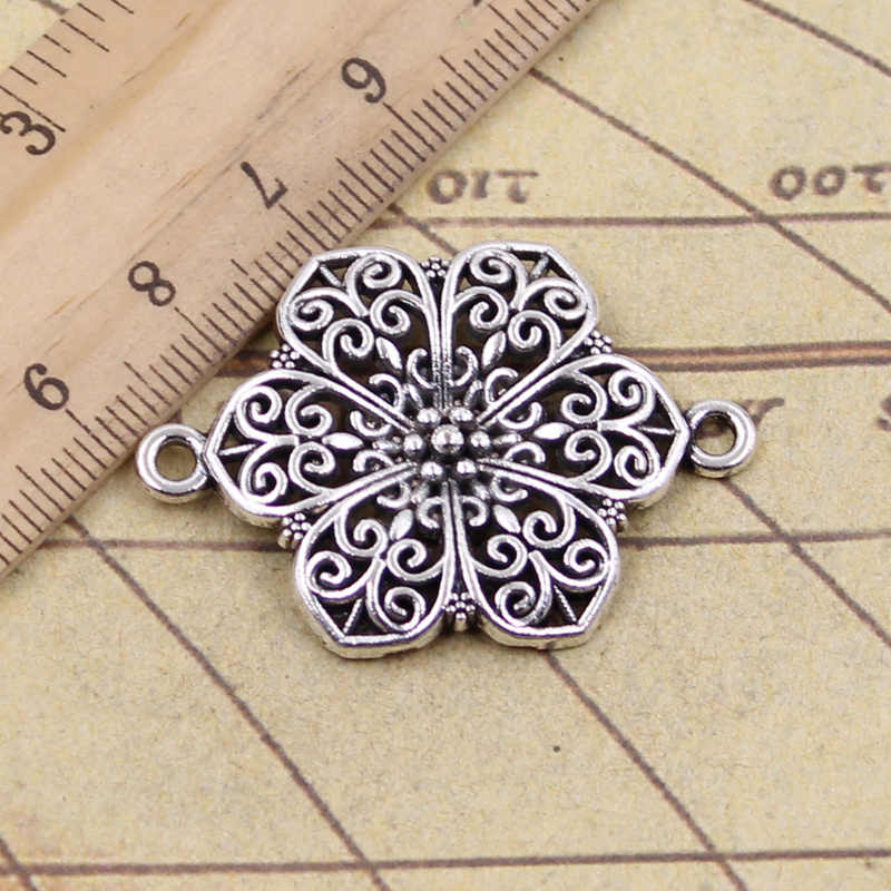 5pcs/lot Charms flower link connector 40x28mm Antique Silver Pendants Making DIY Handmade Tibetan Finding Jewelry for Bracelet