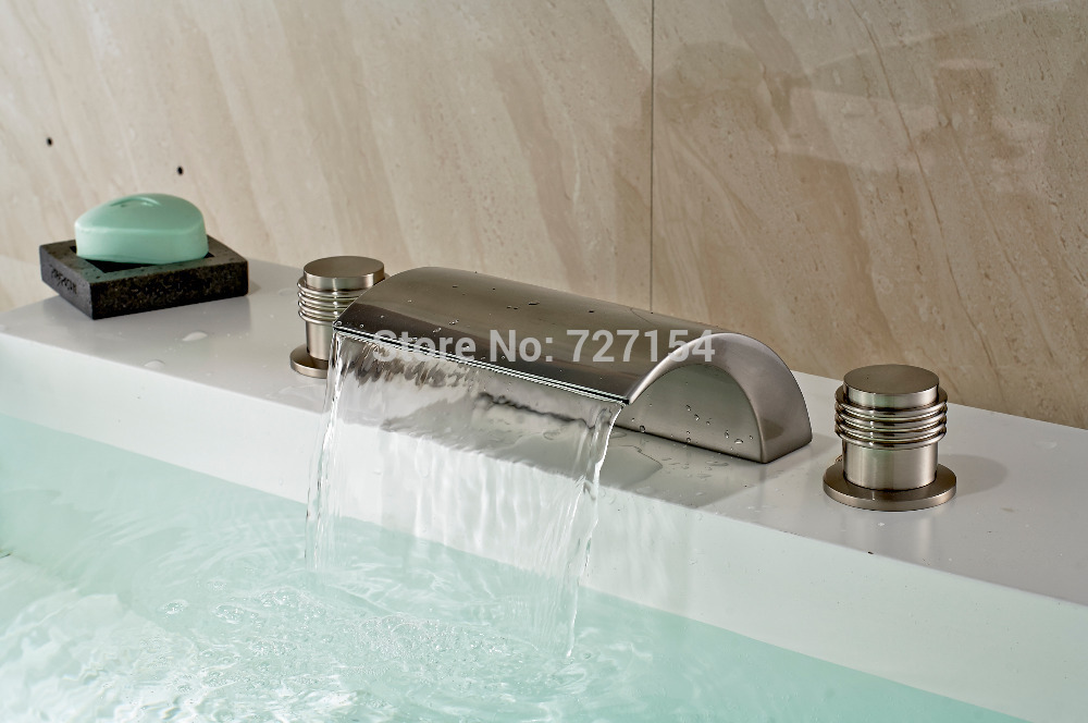 Free Shipping! High Quality Nickel Brushed Basin Faucet Waterfall Spout Sink Mixer Dual Handles free shipping new nickel brushed vessel basin faucet waterfall spout 1handle