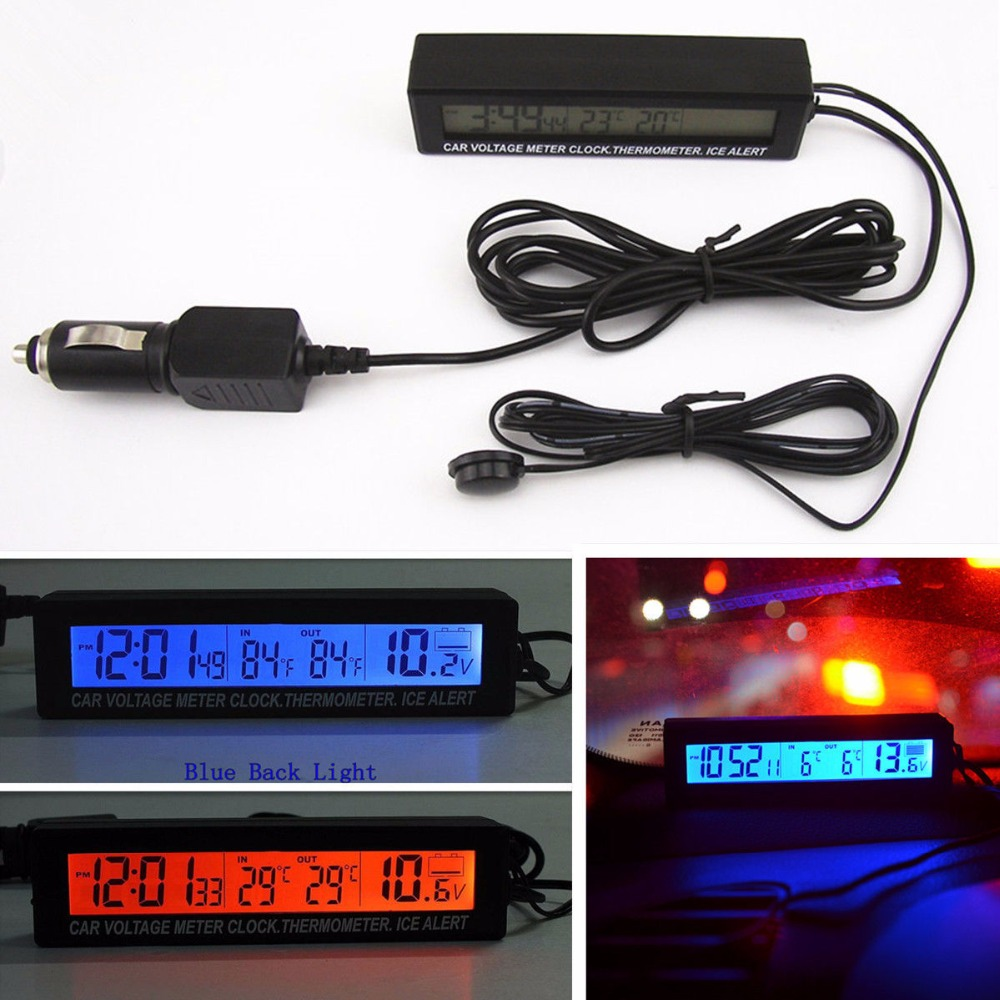 3in1 12V Digital LCD Screen Car Battery Voltage Meter Clock Outdoor/Indoor Car Thermometer Ice Alert Alarm Hourly Chime