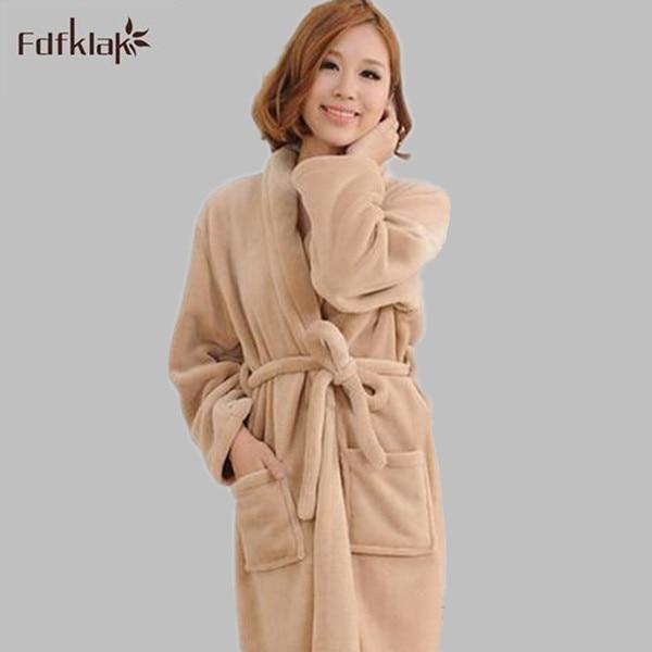 Новый 2016 мода зима женская халат фланель длинные платья платья зима банные халаты большой размер кимоно халат 2XL Q767
