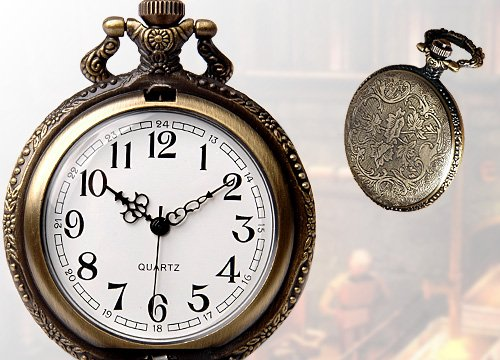 wholesale Classical Railroad Steam Train Pocket Watch Bronze Tone freeship in Pocket Fob Watches from Watches
