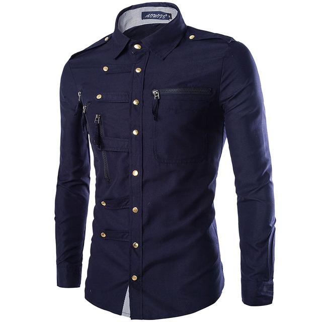 2017 Nuevo Diseño de Alta Calidad Los Hombres de Marca de Moda Casual Estilo Ola Personalidad Hombre Camisas Camisa Masculina
