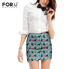 FORUDESIGNS Doberman Dog Printing Mini Skirts for Women Flower Pattern Fresh Style Skirts for Females Floral Beach Party Bottoms цены