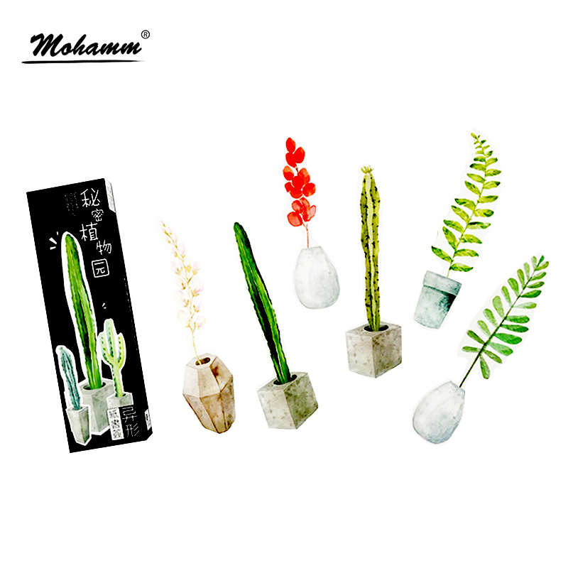 30pcs/lot Cute Potted Plants Gift Bookmarks Marker Stationery Gift Realistic Kawaii Cartoon Bookmarks Office School Supply