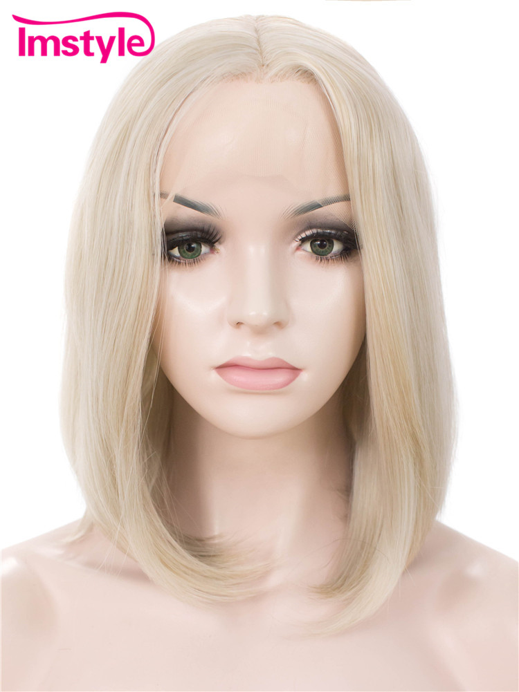 Imstyle Short Bob Wig Light Honey Blonde Synthetic Lace Front Wig for Women 12 inch Cosplay