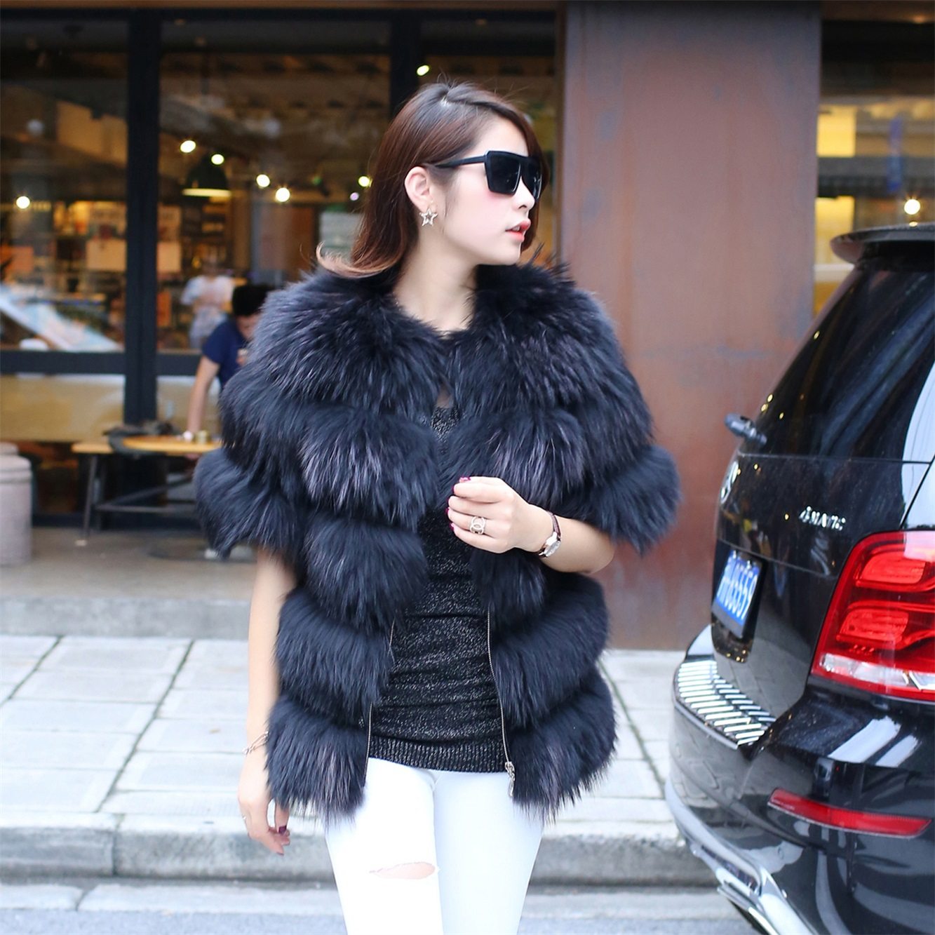 Now Special Offer Standard Triple Breasted Fur Half Coat Fox Raccoon Fur Vest Jacket New Korea European Control Station