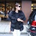 2015 Special Offer Standard Triple Breasted Fur Half Coat Fox Raccoon Fur Vest Jacket New Korea European Control Station