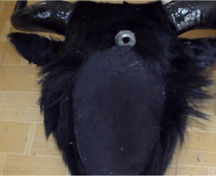 Symulacja yak głowy duży 36x34cm twardy model polietylenu i futra czarny yak ścienne wisiorek rękodzieło prezent do dekoracji domu s2654 w Pluszowe zwierzęta od Zabawki i hobby na  Grupa 3