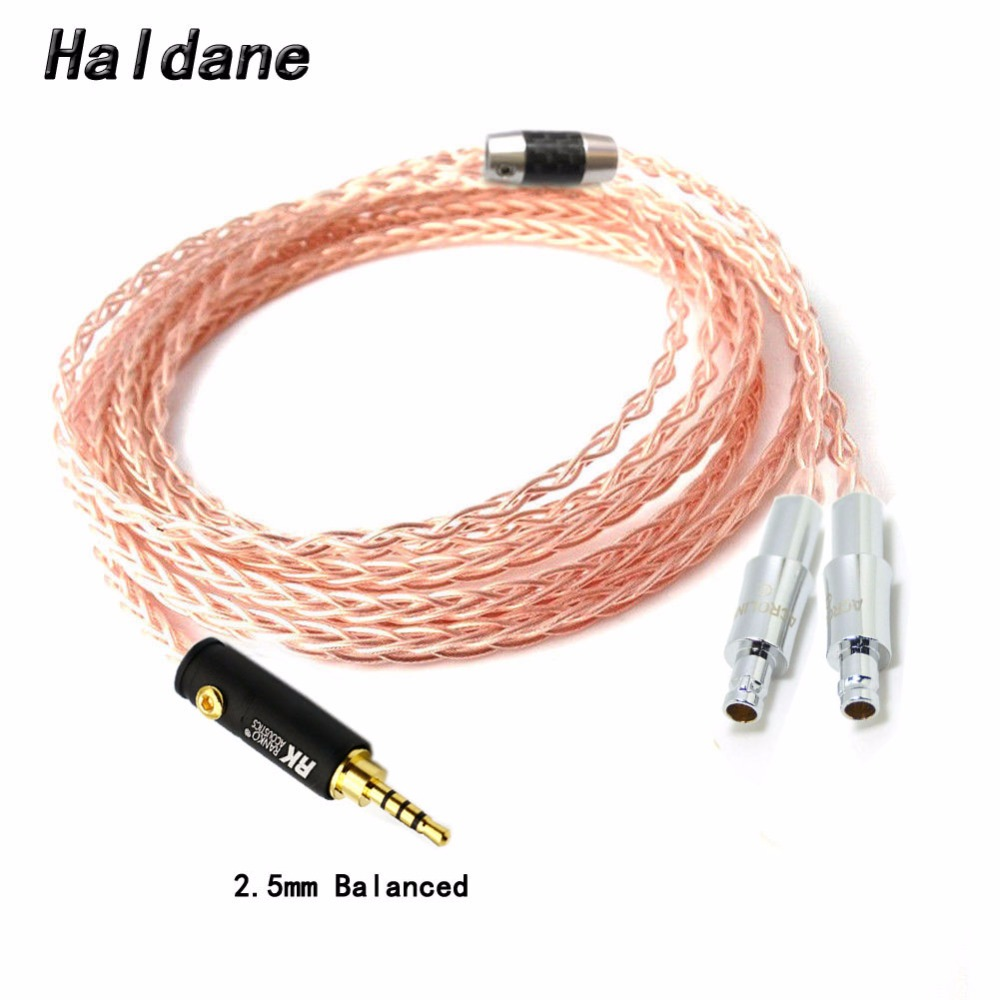 Free Shipping Haldane 1.8m 6ft 2.5/3.5/4.4mm/6.35/XLR Balanced 8 Cores EHeadphone Upgrade Cable Cable ForHD800 HD800S HD820