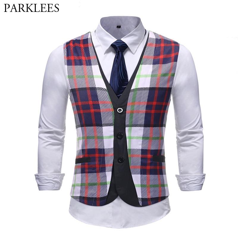Fashion Hit Color Plaid Suit Vest Men 2018 Brand New Slim Fit Sleeveless Waistcoat Mens Party Wedding Vests Colete Masculino 5XL