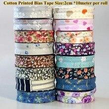 DIY Одежда хлопковая ткань для шитья резки ленты косой ленты Размер 2 см* 10 м Печатный Дизайн Цветы Листья сердца