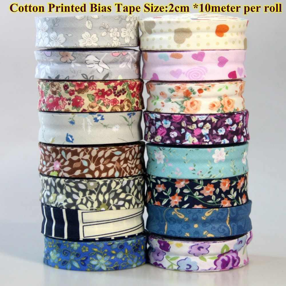 Free Shipping---DIY Apparel Sewing cotton fabric cutting tape Bias Tape size 2cm *10meters printed design flowers leaves hearts