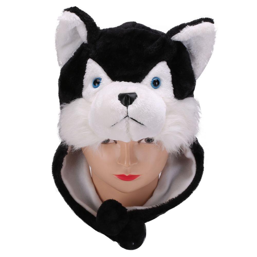 Plush Soft Animal Black Wolf Husky Beanie Hat Winter Womens Mens Children  Kids Boys Girls Warm Fluffy Cosplay Costume Earmuff 54b2d228299