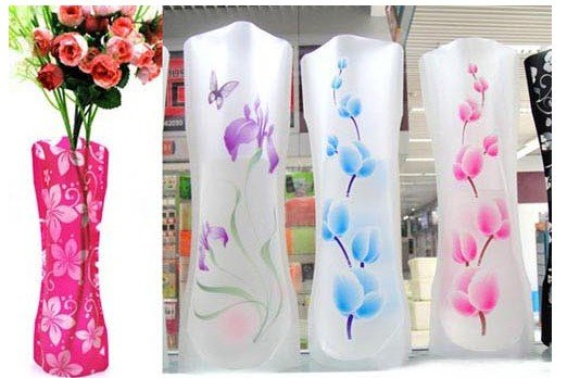 new plastic pvc foldable unbreakable flower vasecreative household itemsnovelty itemshome office decorative product