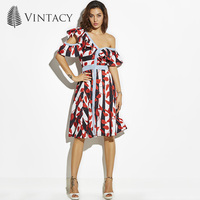 Vintacy New Dress Party Red Print Striped V Neck Ruffles A Line Midi Dress Summer Style
