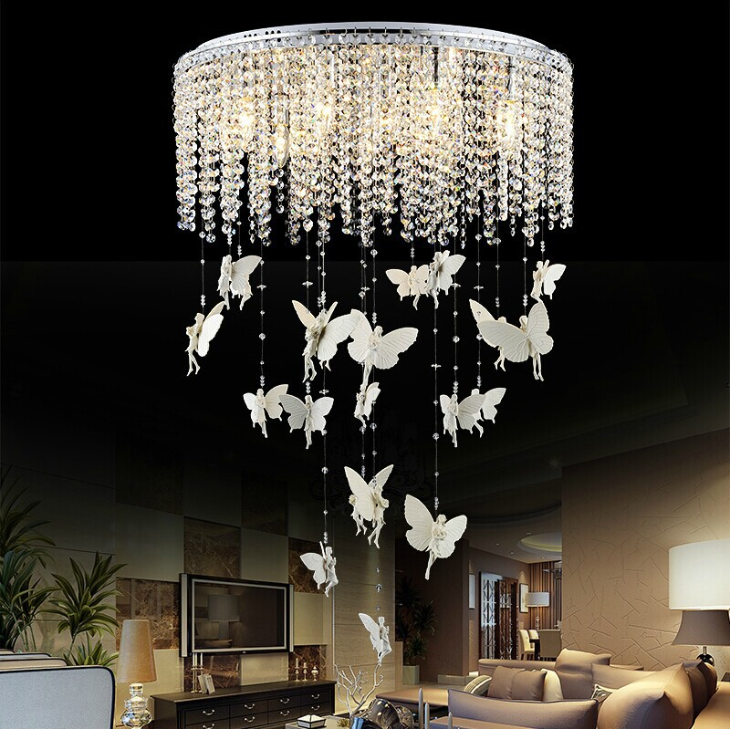 Creative Angel Butterfly Crystal Ceiling Lights Modern Led E14 Kristallen Lampen Lamp For Bedroom Luminaria