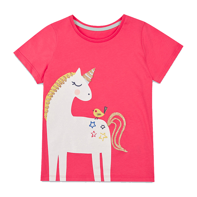 Baby Girls T-shirt Kids Clothes 2018 Brand Children Cartoon T shirts for Girls Costumes Unicorn Summer Girls Tops & Tees monkids 2017 brand dot vest tops girls t shirt tees cartoon sling baby girl summer wear clothing girls blouse for 1 5y