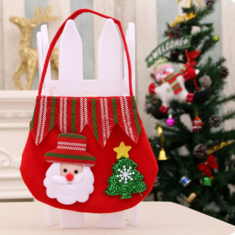 cute christmas gift bags totes large reusable cloth candy bag with handle snowman santa claus xmas party present decor gift bag in stockings gift holders