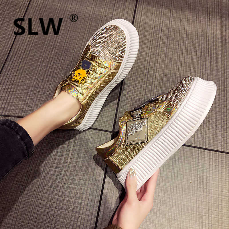 platform flat Loafers Casual Cross-tied Basic women PU Flat Platform Round  Toe fashion Rubber Crystal Lace-Up high shoes woman
