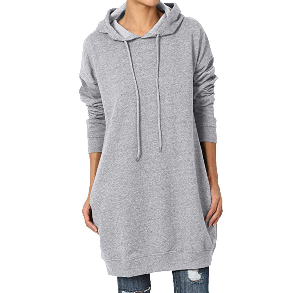Women Autumn T shirts and Tops 2018 Women Casual Basic Loose Fit Pocket Pullover Hoodie Long Tunic Sweatshirts camiseta mujer