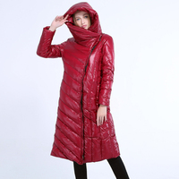 2018 Women Hooded Coats Down Womens Winter Warm Parkas Over Coat Female Brand Jacket Women Bright Leather Fabrics Down Jackets