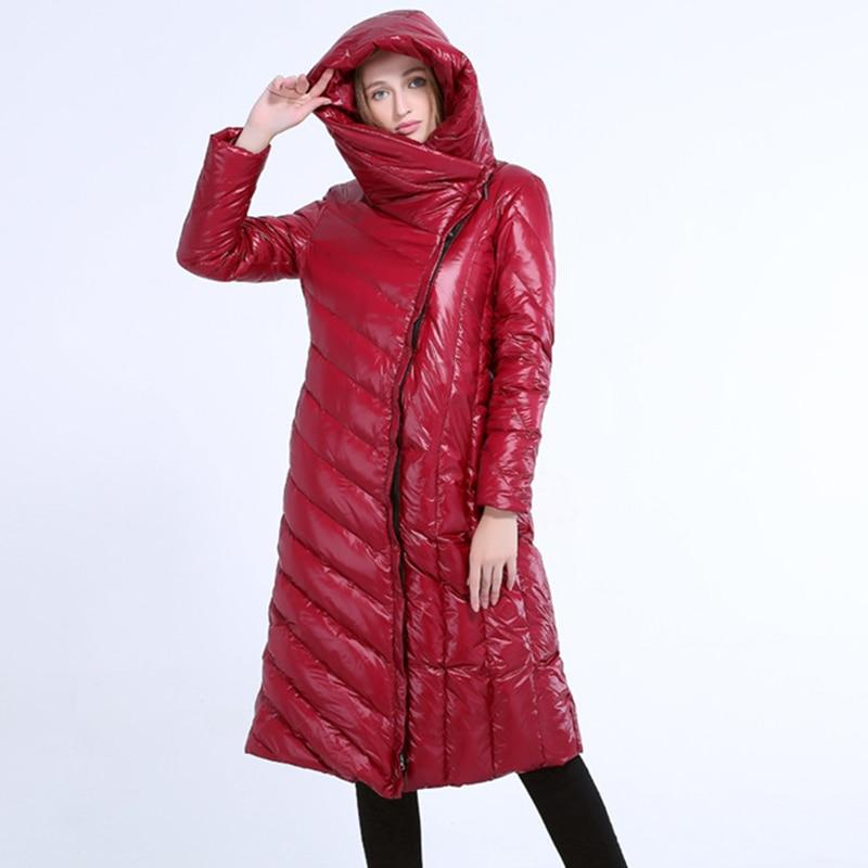 2018 Women Hooded   Coats     Down   Womens Winter Warm Parkas Over   Coat   Female Brand Jacket Women Bright Leather Fabrics   Down   Jackets
