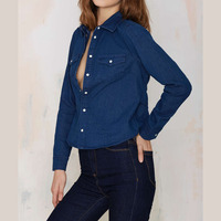 2016 Spring Sexy Open Back Long Sleeve Plus Size Womens Denim Shirt Blue Blouses