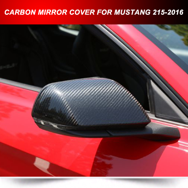 Carbon Fiber Add On Side Mirror Cover Overlay For Ford Mustang 2017 2016