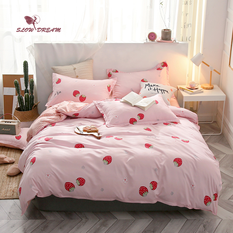 Slowdream Cartoon Strawberry Bedspread Pink Bedding Set Girl Duvet Cover Bed Sheet Set Comfort Euro Bed Linen Set Home Textiles