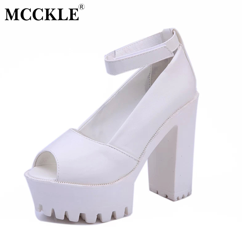 MCCKLE 2017 Fashion Women Shoes Woman High Heels Peep Toe Platform Black Spring Autumn Summer Casual Comfortable Hot Sale mcckle 2017 fashion woman shoes flat women platform round toe lace up ladies office black casual comfortable spring