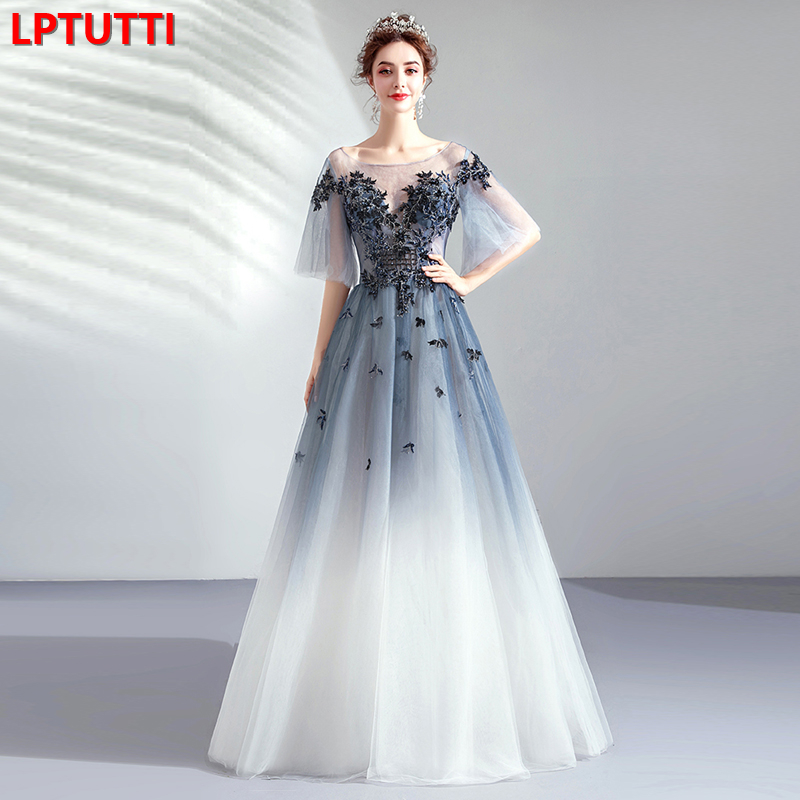 LPTUTTI Embroidery Beading Lace New For Women Elegant Date Ceremony Party Prom Gown Formal Gala Events Luxury Long   Evening     Dress