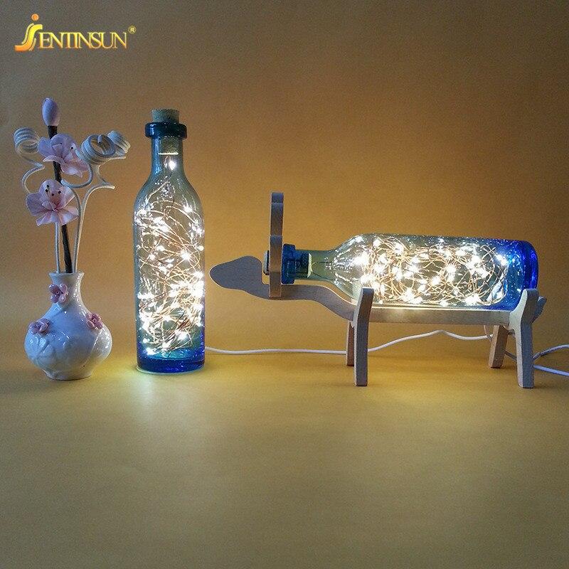 Nordic Creative Wood Deer LED Strip Light Glass Bottle Night Lights USB Table <font><b>Lamp</b></font> 220V for Home <font><b>Decoration</b></font> Festival Christmas