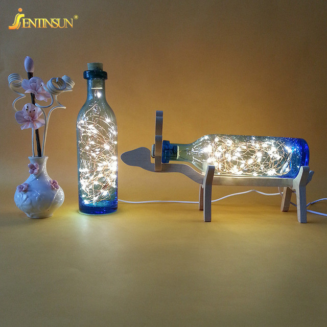 Nordic Wood Deer Lamp Led Strip Light Glass Bottle Night Lights Usb