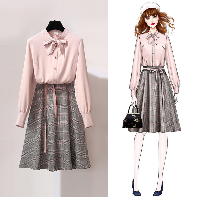 Shirt Skirt Set 2019 Women's New Spring And Summer Foreign Playful Professional Two-piece Suit