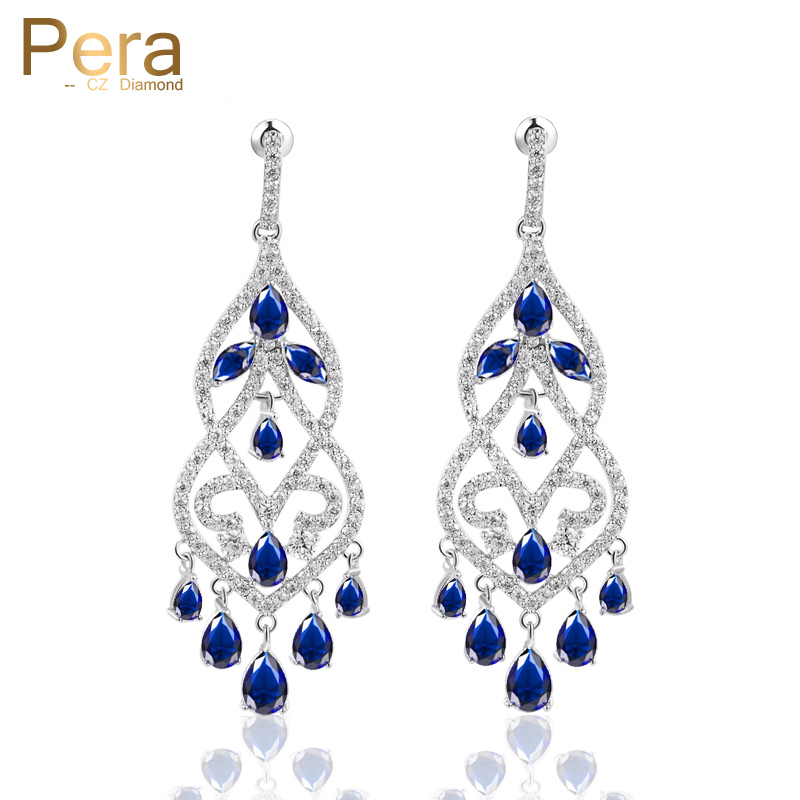 Pera Luxury Royal CZ Jewelry Big Chandelier Long Hollow Hanging Drop Blue Stone Evening Party Brilliant Earrings For Women E298