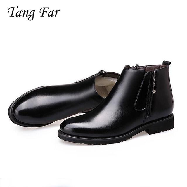 الرجال الأحذية مصمم الشتاء أحذية الرجال الدافئة عارضة فراء الأحذية جلد طبيعي سستة مارتن الأحذية البريطانية وأشار الغمد بوتا