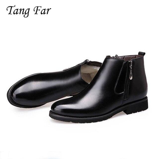 Men Boots Zipper Designer Men's Winter Formal Shoes British Fur Boots Genuine Leather Boots Pointed Masculina Bota