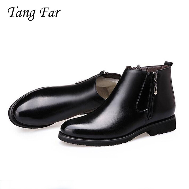 Men's Boots 디자이너 겨울 Shoes Men Warm Casual 퍼 Boots Genuine Leather Zipper Martin Boots 영국 첨 Masculina Bota